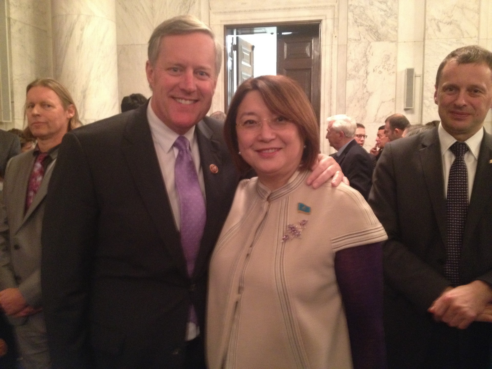 Mark Meadows and Senator Aitimova at the reception at the Kenedy Causus Room, Feb 27, 2014