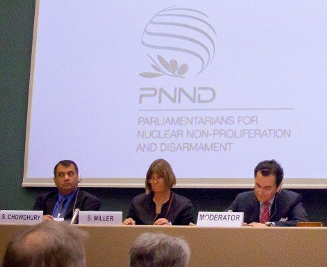 PNND Co-Presidents Saber Chowdhury and Sue Miller speaking at the UN Open Ended Working Group in Geneva